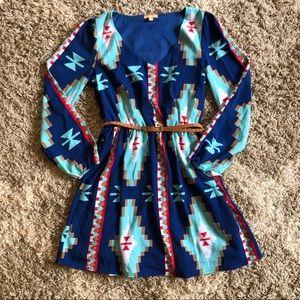 Takara Aztec Print Dress, skinny belt, size M